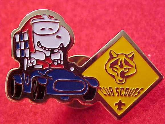 SNOOPY PIN, RACE CAR DRIVER CUB SCOUT