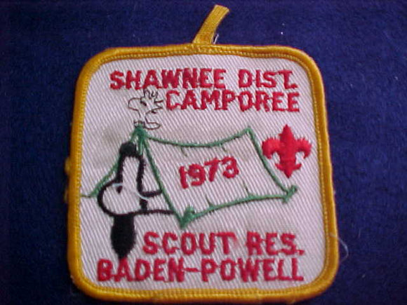 SNOOPY & WOODSTOCK PATCH, 1973, SHAWNEE DISTRICT CAMPOREE, BADEN-POWELL SCOUT RESV., SOILED