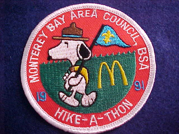 SNOOPY/MCDONALDS PATCH, 1991, MONTEREY BAY A. C. HIKE-A-THON