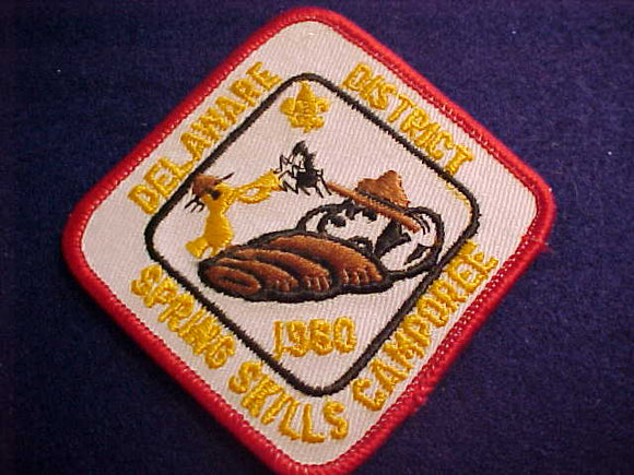 SNOOPY & WOODSTOCK PATCH, 1980, DELAWARE DISTRICT SPRING SKILLS CAMPOREE