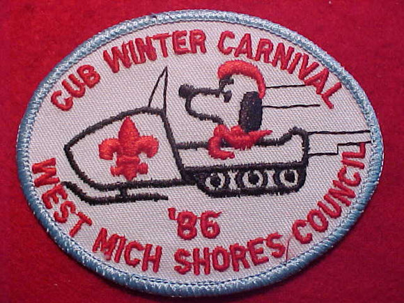 SNOOPY PATCH, 1986, ON SNOWMOBILE, WEST MICHIGAN SHORES C. CUB WINTER CARNIVAL