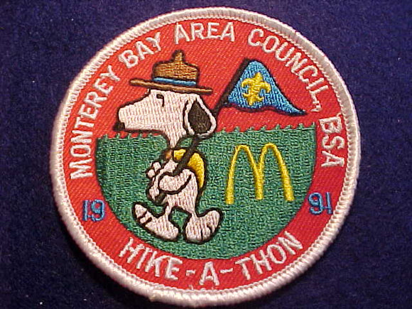SNOOPY PATCH, BEAGLE SCOUT HIKE-A-THON,MCDONALDS ARCHES, MONTEREY BAY AREA COUNCIL