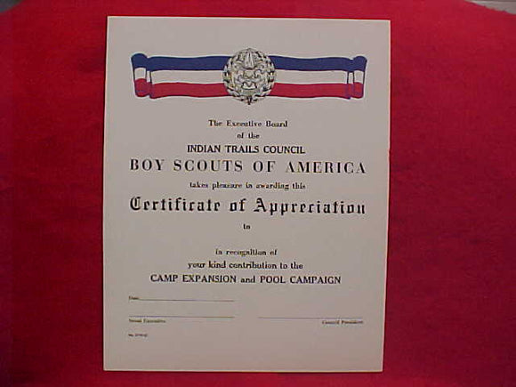 BSA CERTIFICATE, BLANK, INDIAN TRAILS COUNCIL, CERTIFICATE OF APPRECIATION FOR CAMP EXPANSION AND POOL CAMPAIGN, 1957 PRINTING