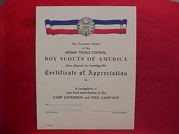 BSA CERTIFICATE, BLANK, INDIAN TRAILS COUNCIL, CERTIFICATE OF APPRECIATION FOR CAMP EXPANSION AND POOL CAMPAIGN, 1958 PRINTING