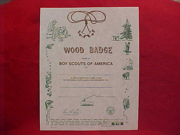 BSA CERTIFICATE, BLANK, WOOD BADGE