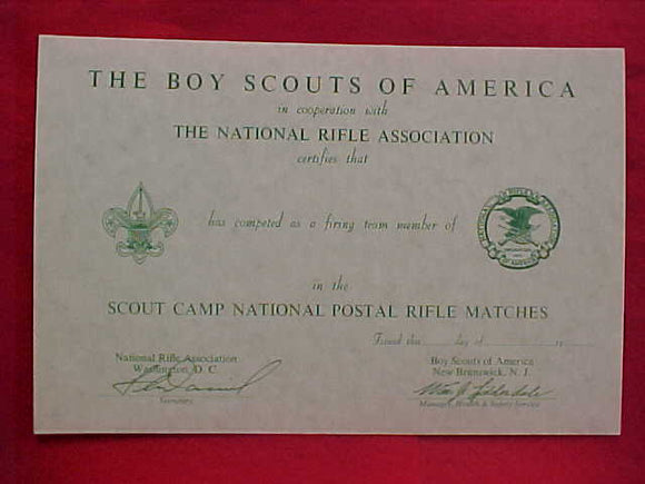 BSA CERTIFICATE, BLANK, NATIONAL RIFLE ASSOC., SCOUT CAMP NATIONAL POSTAL RIFLE MATCHES, 1960'S PRINTING