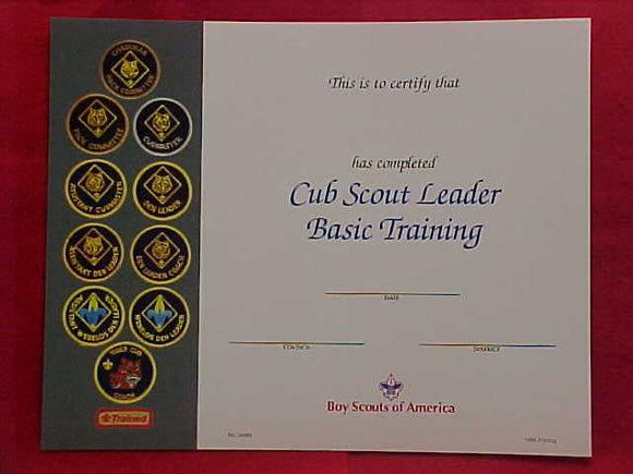 BSA CERTIFICATE, BLANK, CUB SCOUT LEADER BASIC TRAINING, 1996 PRINTING