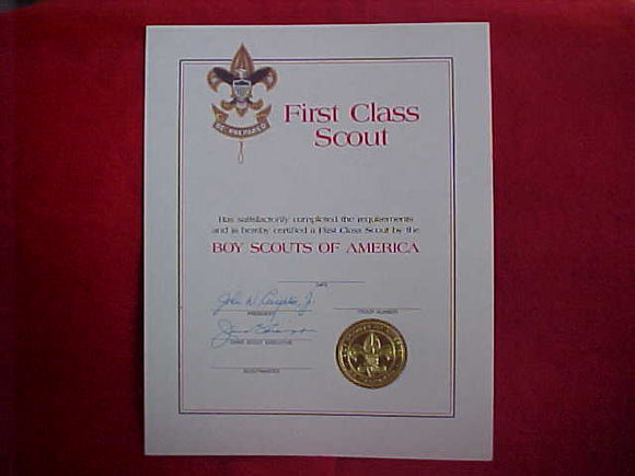 BSA CERTIFICATE, BLANK, FIRST CLASS SCOUT CERTIFICATE IN AN EMBOSSED FOLDER