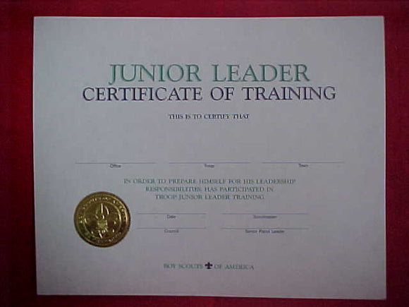 BSA CERTIFICATE, BLANK, JUNIOR LEADER CERTIFICAT OF TRAINING, 1994 PRINTING