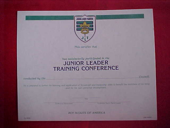 BSA CERTIFICATE, BLANK, SATISFATORY PARTICIPATION IN JUNIOR LEADER TRAINING CONFERENCE, 1994 PRINTING