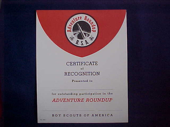 BSA CERTIFICATE, BLANK, PARTICIPATION IN THE ADVENTURE ROUNDUP, 1962 PRINTING