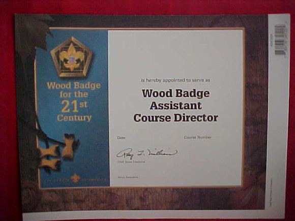 BSA CERTIFICATE, BLANK, APPOINTMENT TO SERVE AS WOOD BADGE ASSISTANT COURSE DIRECTOR, 2002 PRINTING