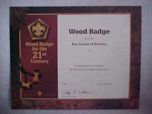 BSA CERTIFICATE, BLANK, WOOD BADGE, 2002 PRINTING