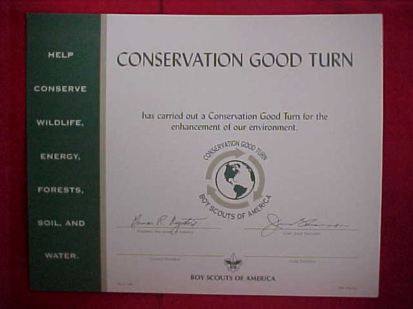 BSA CERTIFICATE, BLANK, CONSERVATION GOOD TURN, 1994 PRINTING
