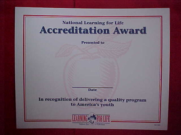 BSA CERTIFICATE, BLANK, NATIONAL LEARNING FOR LIFE ACCREDITATION AWARD
