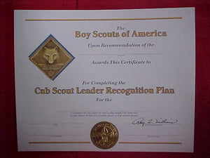 BSA CERTIFICATE, BLANK, COMPLETION OF THE CUB SCOUT LEADER RECOGNITION PLAN