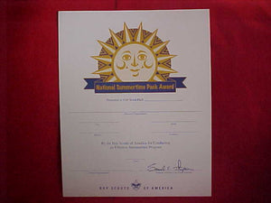 BSA CERTIFICATE, BLANK, NATIONAL SUMMERTIME PACK AWARD (FOR CONDUCTION AN EFFECTIVE OUTDOOR SUMMERTIME PROGRAM), 2006 PRINTING