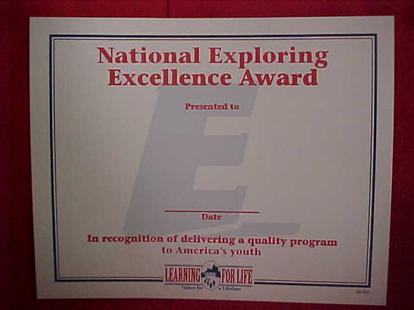 BSA CERTIFICATE, BLANK, NATIONAL EXPLORING EXCELLENCE AWARD