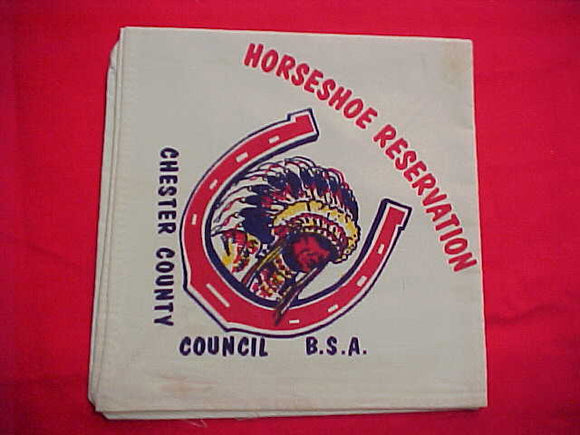 HORSESHOE SCOUT CAMP N/C, CHESTER COUNTY C., LT. GREEN, USED