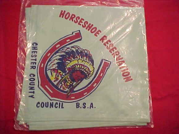 HORSESHOE SCOUT CAMP N/C, CHESTER COUNTY C., LT. GREEN, MINT IN ORIG. BAG