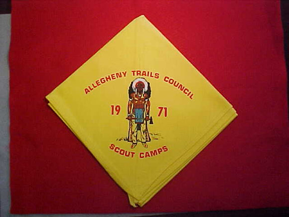 ALLEGHENY TRAILS COUNCIL SCOUT CAMPS NECKERCHIEF, 1971, SLIGHT USE