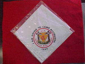 "ALLIQUIPPA CAMP NECKERCHIEF, ""I AM GOING"", MINT IN ORIGINAL BAG"