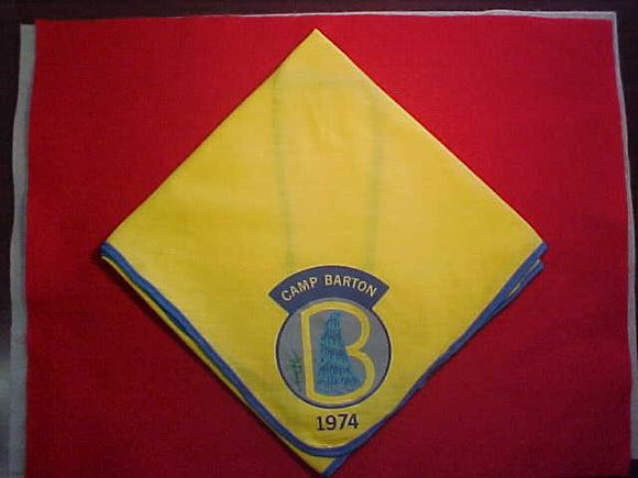 BARTON CAMP NECKERCHIEF, 1974, USED