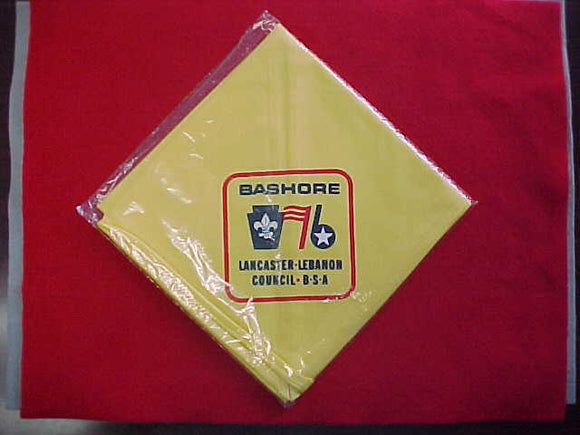 BASHORE CAMP NECKERCHIEF, LANCASTER-LEBANON COUNCIL, 1976, MINT IN ORIGINAL BAG