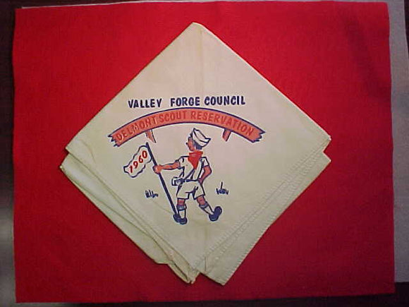 DELMONT SCOUT RESERVATION NECKERCHIEF, VALLEY FORGE COUNCIL, 1960, USED