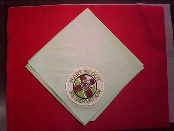 HART SCOUT RESERVATION NECKERCHIEF WITH PATCH, LIGHT GREEN COTTON