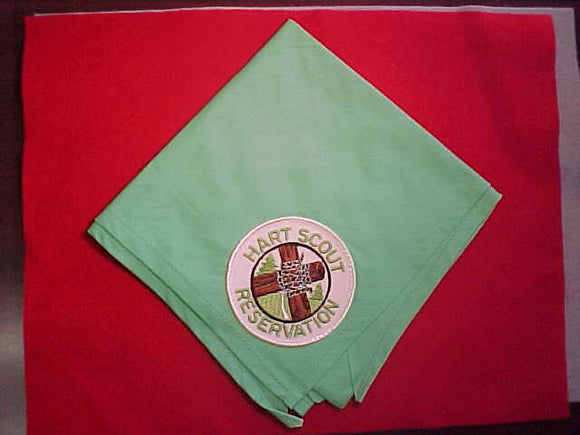 HART SCOUT RESERVATION NECKERCHIEF WITH PATCH, GREEN COTTON