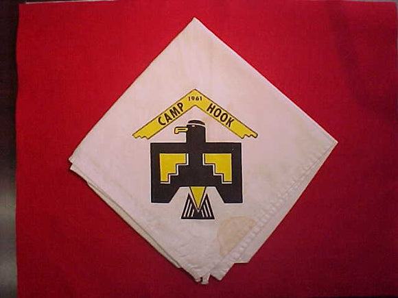 HOOK CAMP NECKERCHIEF, 1961, USED, STAINED
