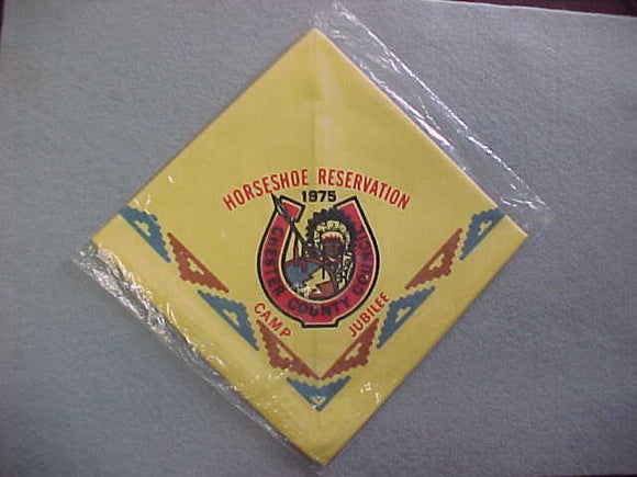 HORSESHOE SCOUT RESERVATION NECKERCHIEF, CHESTER COUNTY COUNCIL, 1975, MINT IN ORIGINAL BAG