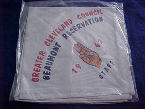 BEAUMONT RESERVATION NECKERCHIEF, 1962, GREATER CLEVELAND COUNCIL, STAFF, MINT IN ORIG. BAG