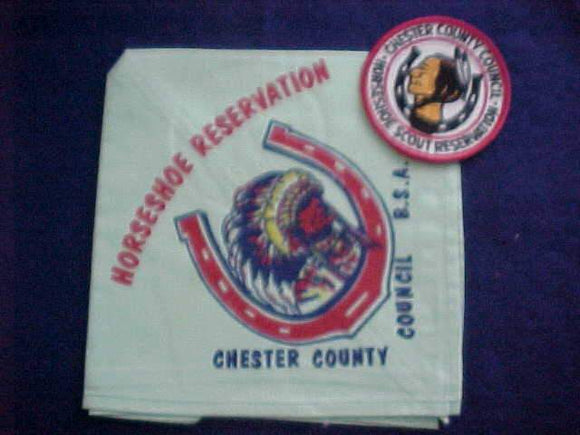 HORSESHOE RESV. NECKERCHIEF, 1960'S, CHESTER COUNTY COUNCIL, W/ PATCH