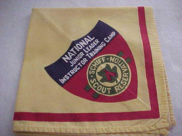 SCHIFF SCOUT RESV. NECKERCHIEF, NATIONAL JUNIOR LEADER INSTRUCTOR TRAINING CAMP, USED