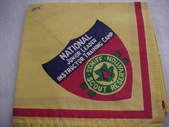 SCHIFF SCOUT RESV. NECKERCHIEF, NATIONAL JUNIOR LEADER INSTRUCTOR TRAINING CAMP, SMALL STAIN