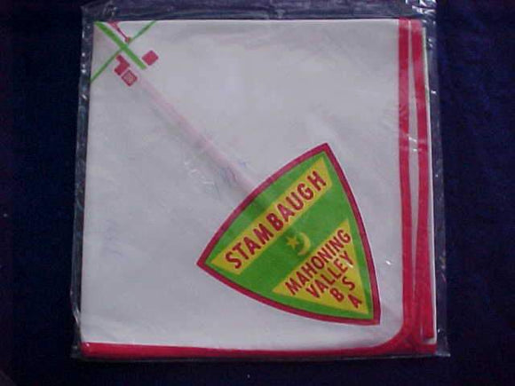 STAMBAUGH NECKERCHIEF, 1971, MAHONING VALLEY, W/ MAP, MINT IN ORIG. BAG