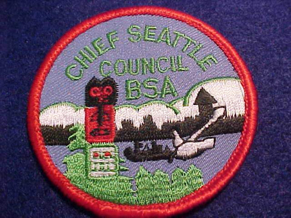 CHIEF SEATTLE COUNCIL PATCH, 64MM ROUND, SCOUT STUFF PLASTIC BACK