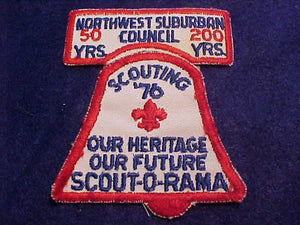 NORTHWEST SUBURBAN COUNCIL PATCHES, 50 YR. ANNIV. PATCH + 1976 SCOUT-O-RAMA PATCH, USED
