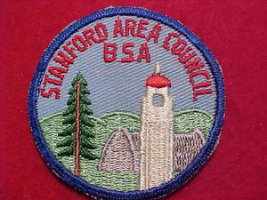 "STANFORD AREA COUNCIL PATCH, 2.5"" ROUND, MINT COND."