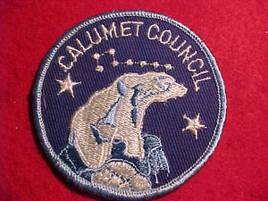 CALUMET COUNCIL PATCH, BLUE & WHITE POLAR BEAR