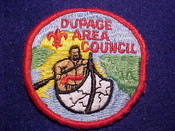 DUPAGE AREA COUNCIL PATCH, RED FDL W/ CROSSBAR, ROLLED BDR., USED