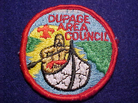 DUPAGE AREA COUNCIL PATCH, RED FDL, ROLLED BDR., USED