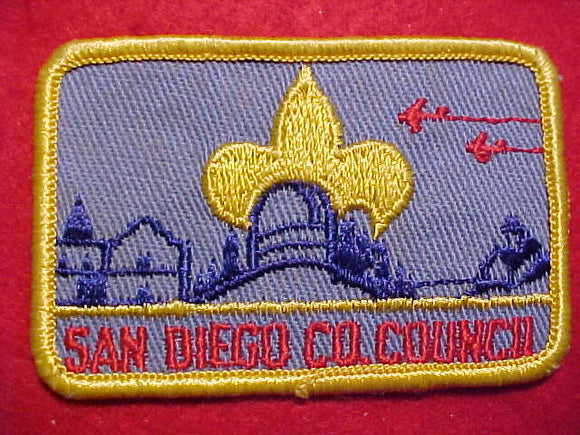 SAN DIEGO COUNTY COUNCIL PATCH, RED JETS, ROLLED BDR.