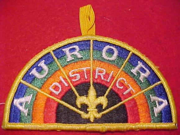 AURORA DISTRICT PATCH, SWISS EMBROIDERED W/ BUTTON LOOP, USED