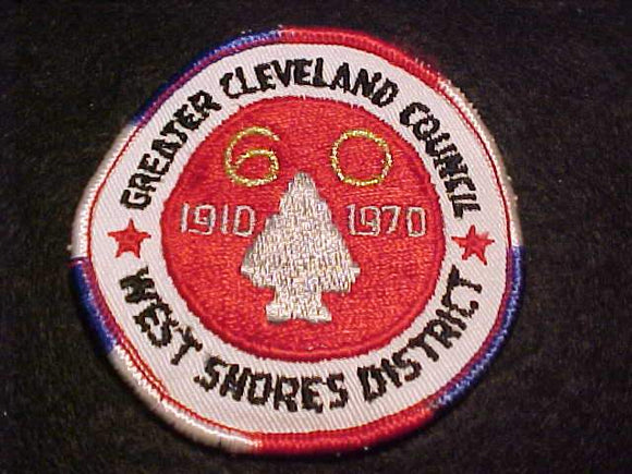 WEST SHORES DISTRICT PATCH, 1970, 60TH ANNIV., GREATER CLEVELAND C., USED (GLUE ON BACK)