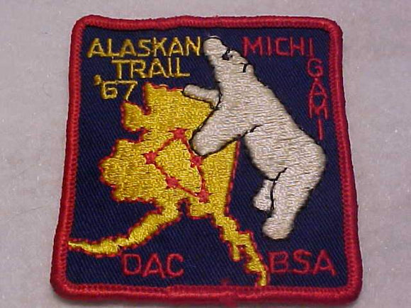 1967 DETROIT AREA COUNCIL PATCH, MICHIGAMI DISTRICT, ALASKAN TRAIL, USED