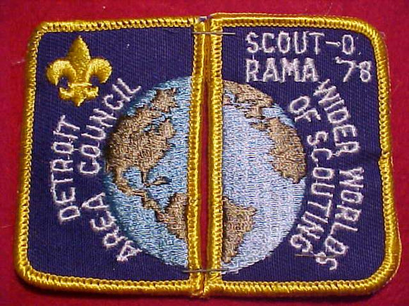 1978 DETROIT AREA COUNCIL PATCHES (SET OF 2), SCOUT-O-RAMA, WIDER WORLDS OF SCOUTING