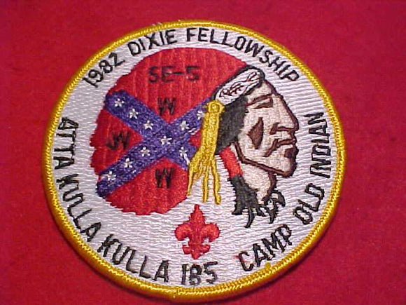 1982 DIXIE FELLOWSHIP PATCH, CAMP OLD INDIAN, YELLOW BDR.